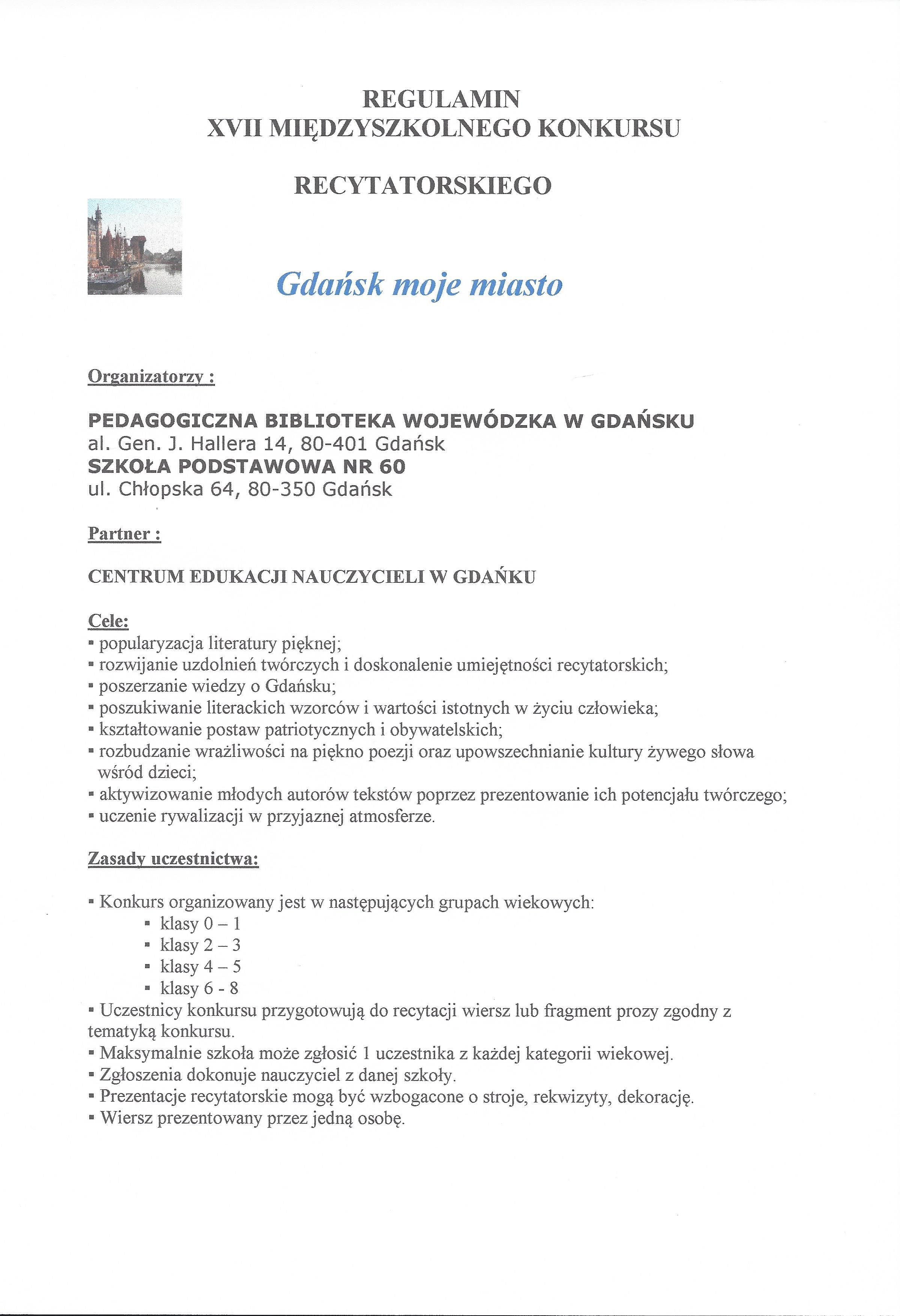 Xvii Międzyszkolny Konkurs Recytatorski 21112019 R